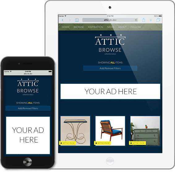 Online Furniture Shopping Website ATTIC on Smartphone iPhone and Tablet iPad
